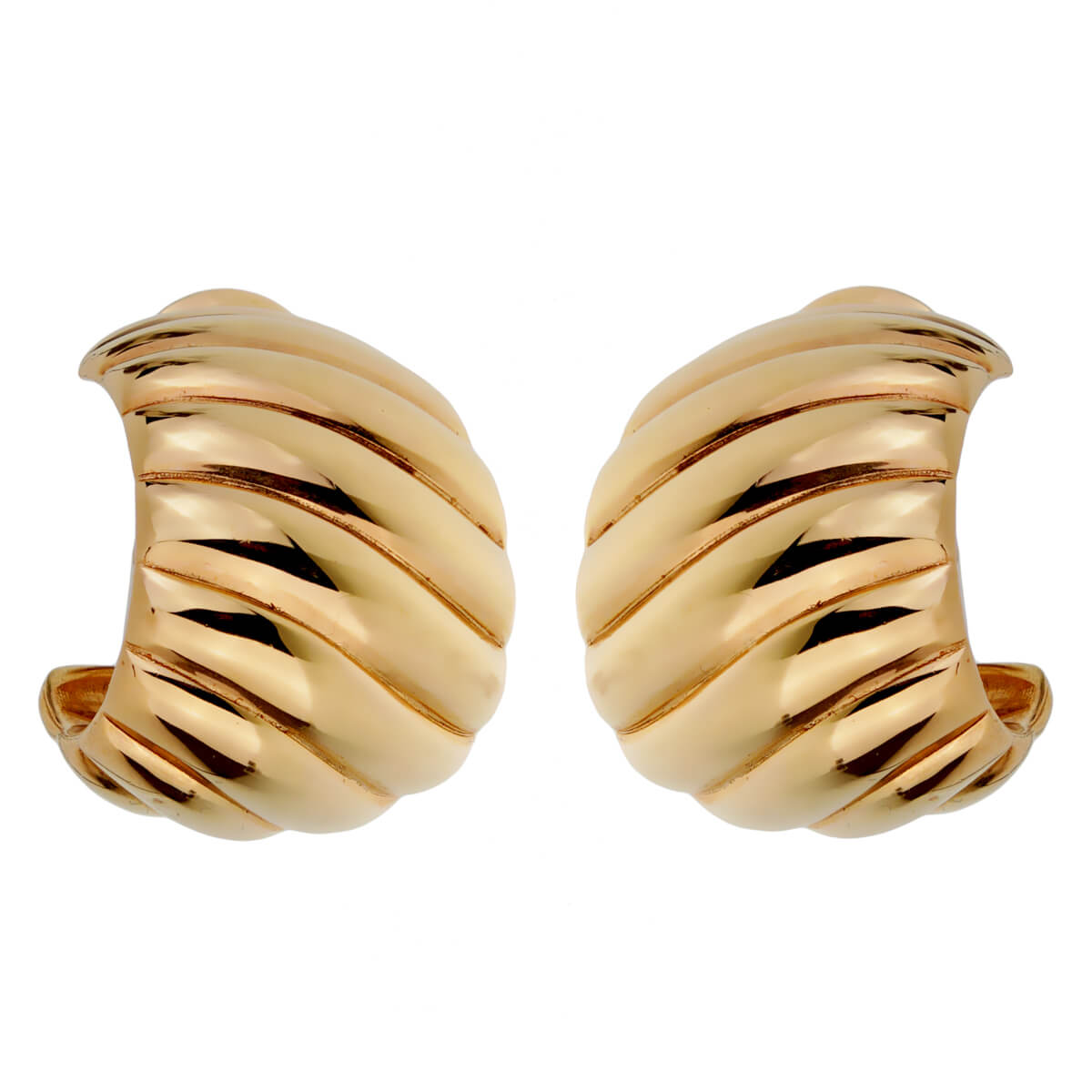 Van Cleef Arpels Gold Scalloped Hoop Earrings