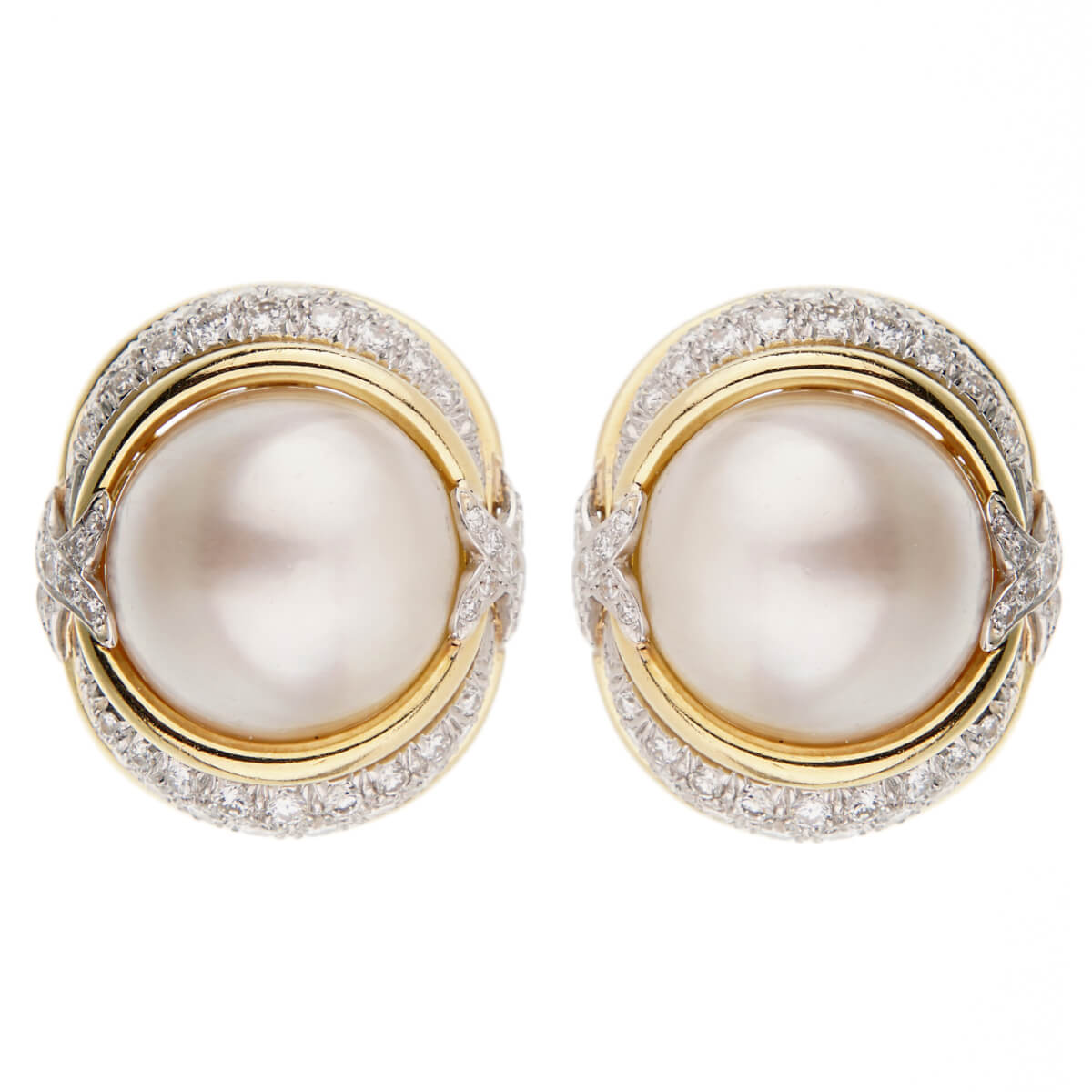 Verdura Pearl Diamond Yellow Gold Platinum Earrings